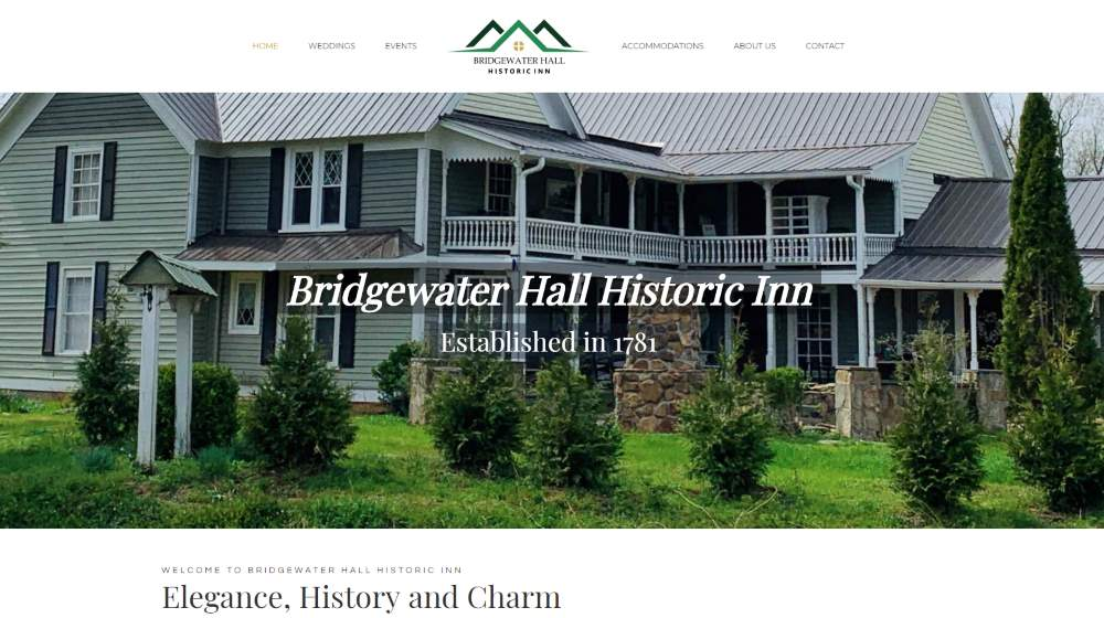 New Website Design - Bridgewater Hall Historic Inn